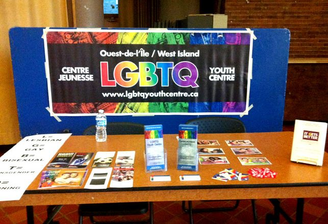 LGBT Youth Centre kiosk, with pamphlets and educational material